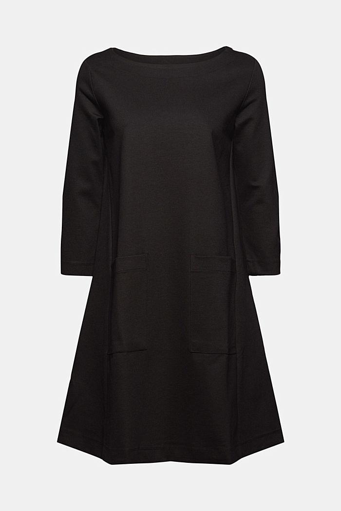 Robe évasée en jersey, LENZING™ ECOVERO™, BLACK, detail image number 7