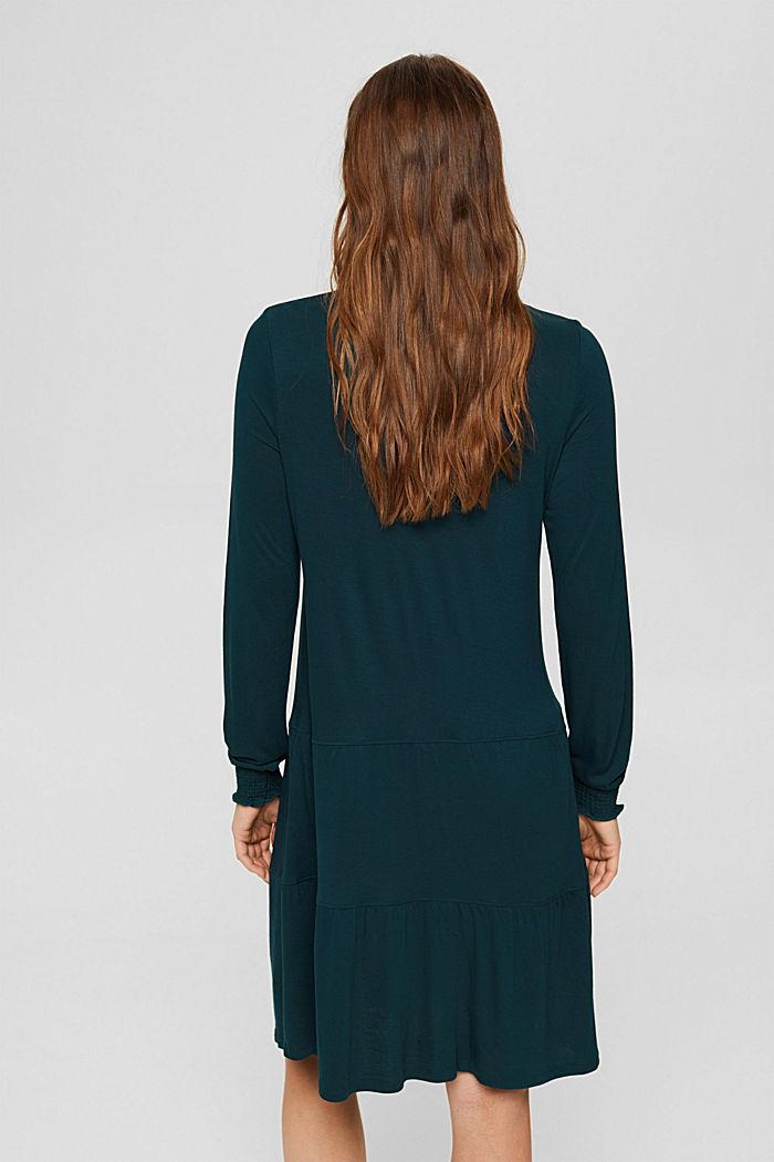 Jersey jurk met ruches, LENZING™ ECOVERO™, DARK TEAL GREEN, detail image number 2