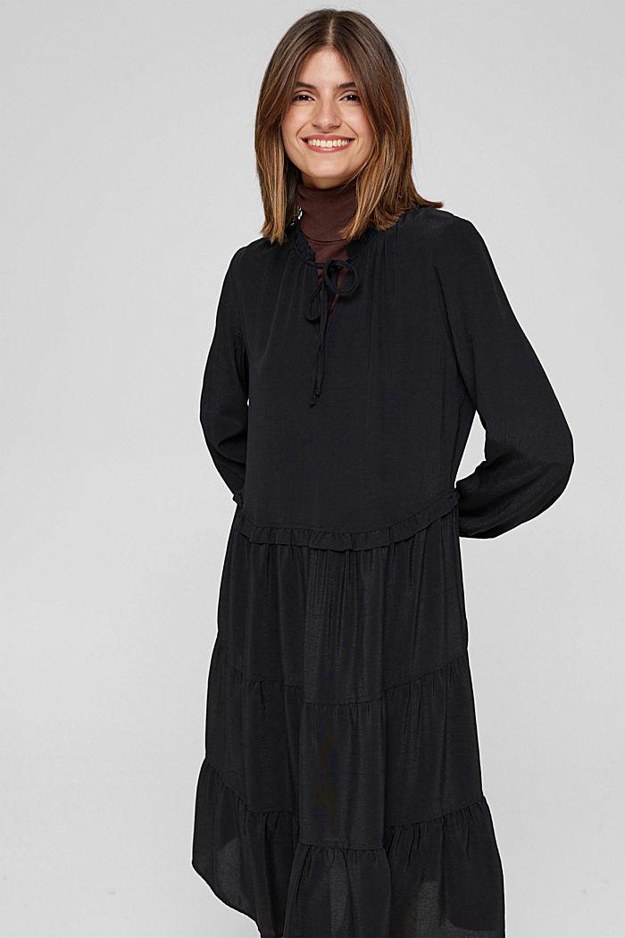 Kleid mit Rüschen und Volants, BLACK, detail image number 0