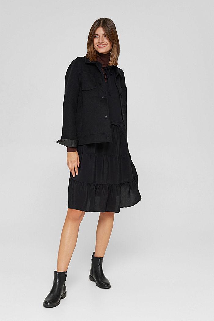 Kleid mit Rüschen und Volants, BLACK, detail image number 1