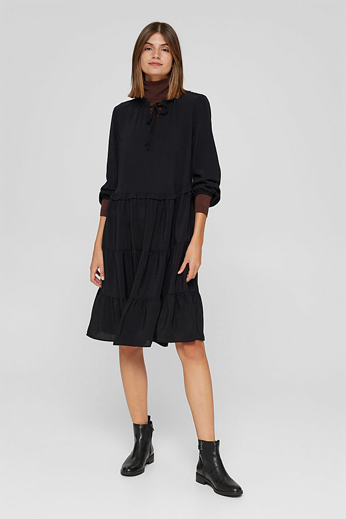 Kleid mit Rüschen und Volants, BLACK, detail image number 7