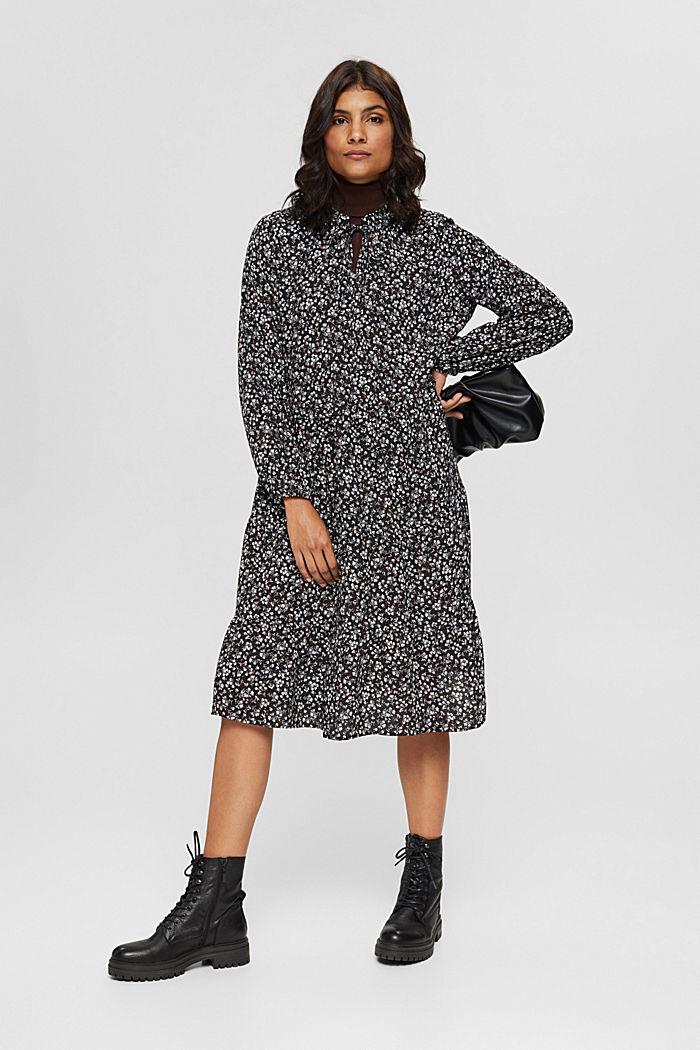 Weites Millefleurs-Kleid mit LENZING™ ECOVERO™, BLACK, detail image number 1