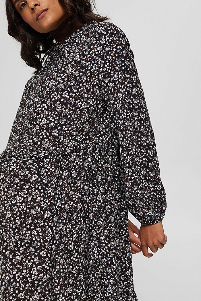 Weites Millefleurs-Kleid mit LENZING™ ECOVERO™, BLACK, detail image number 3