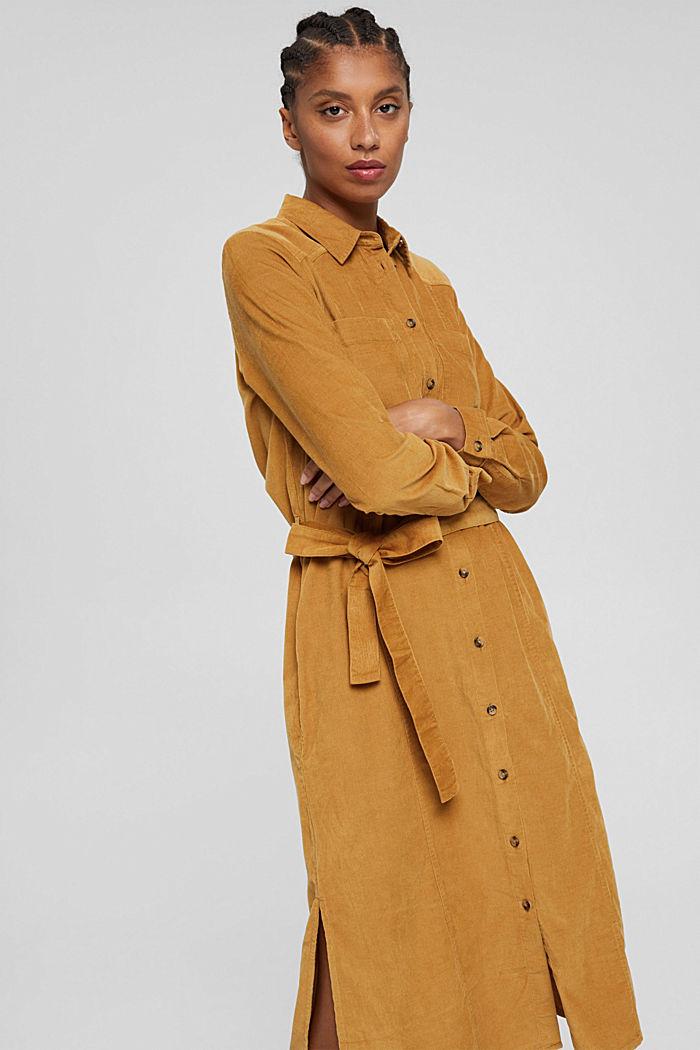 Hemdblusenkleid mit Gürtel aus Cord, CAMEL, detail image number 5