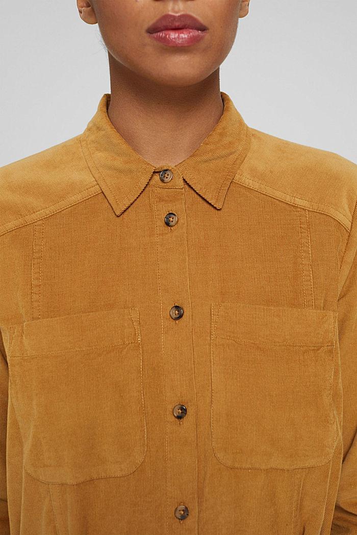 Hemdblusenkleid mit Gürtel aus Cord, CAMEL, detail image number 3