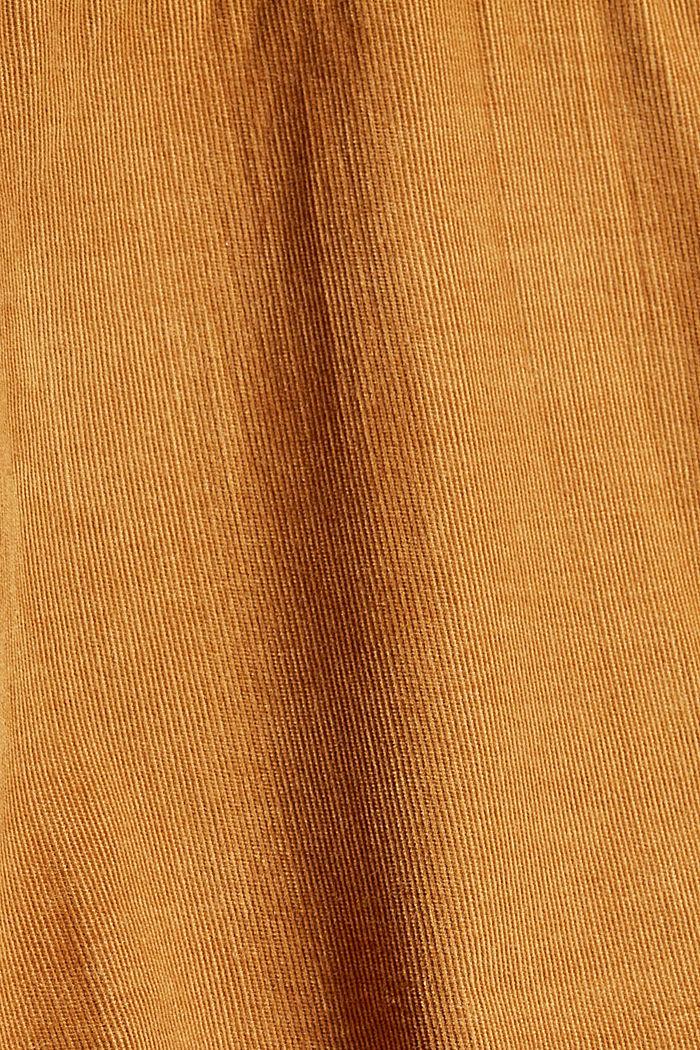 Hemdblusenkleid mit Gürtel aus Cord, CAMEL, detail image number 4