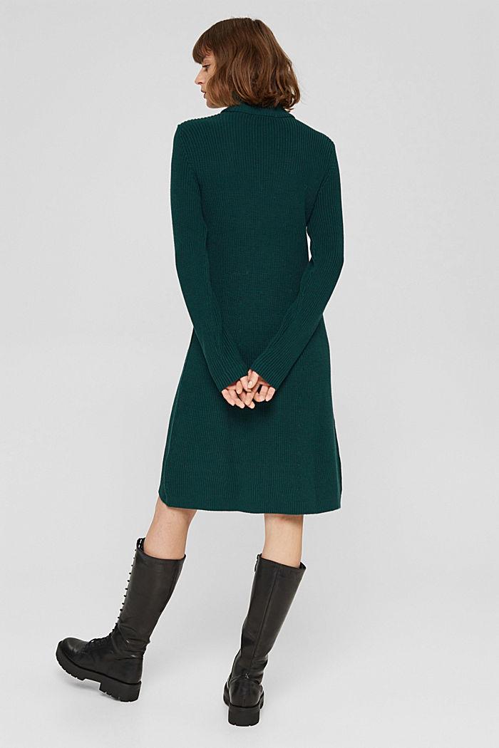 Knielange gebreide jurk van organic cotton, DARK TEAL GREEN, detail image number 2