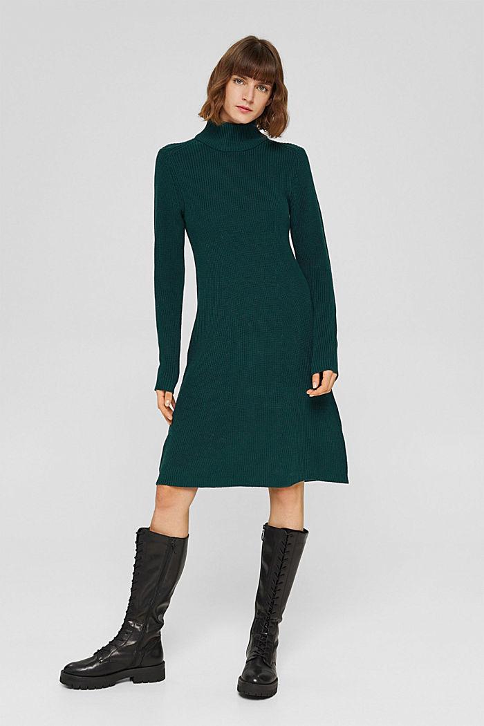 Knielange gebreide jurk van organic cotton, DARK TEAL GREEN, detail image number 5