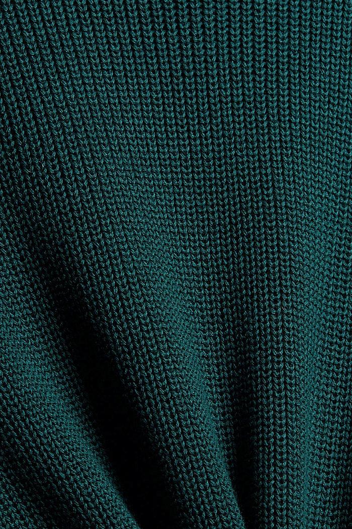 Knielange gebreide jurk van organic cotton, DARK TEAL GREEN, detail image number 4