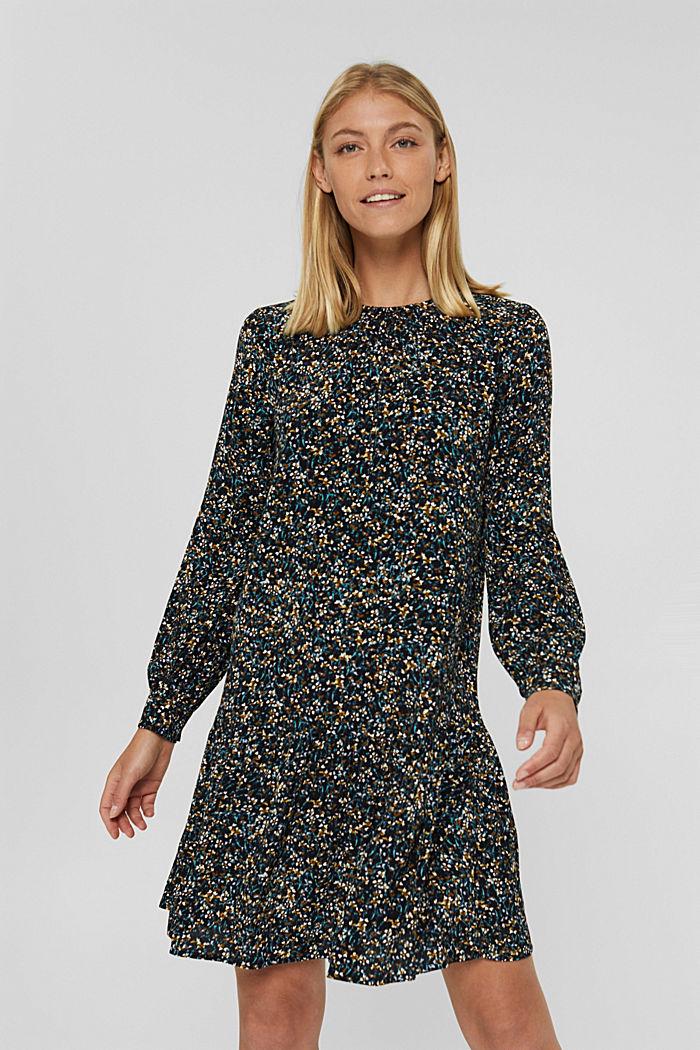 Robe à volants, motif mille-fleurs et teneur en LENZING™ ECOVERO™, NEW BLACK, detail image number 0