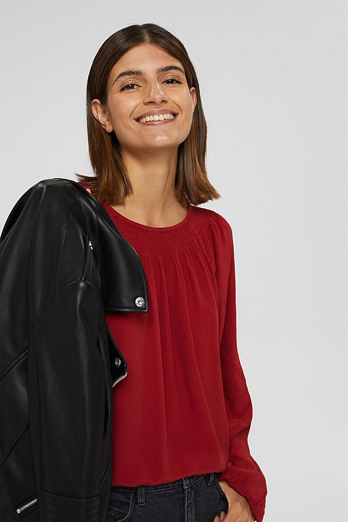 Gesmokte crêpe blouse van LENZING™ ECOVERO™