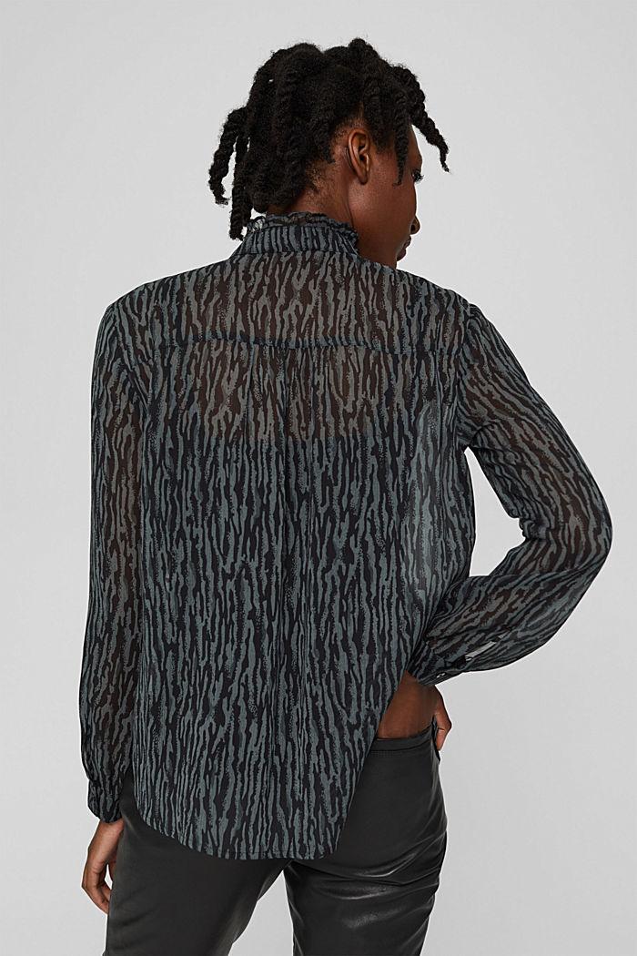 Chiffon blouse met dierenprint en top, GUNMETAL, detail image number 3