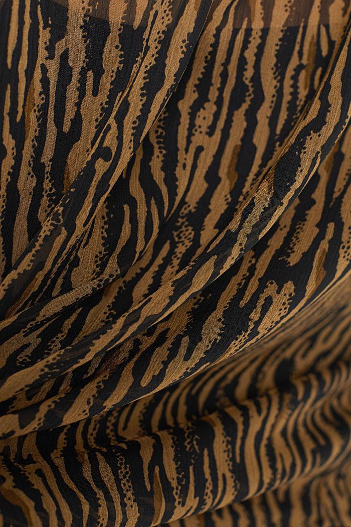 Chiffonbluse mit Animal-Print und Top, CAMEL, detail image number 4