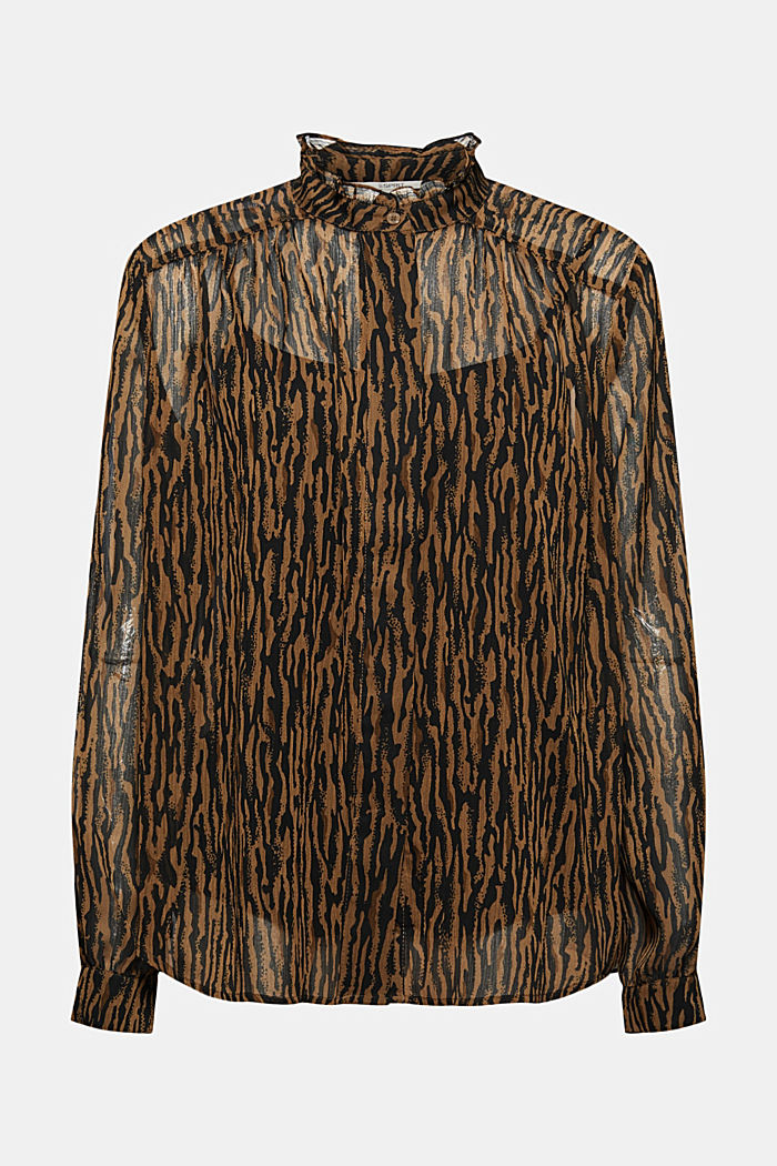 Chiffon blouse with an animal print and a top