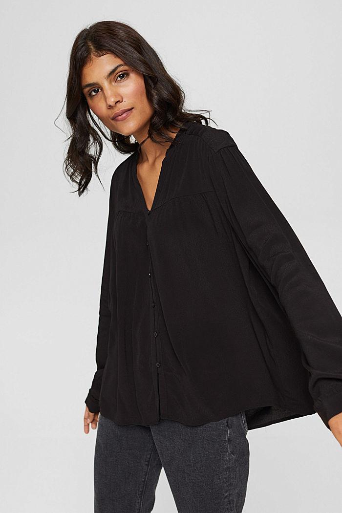 Henley-Bluse mit Rüschen, LENZING™ ECOVERO™, BLACK, detail image number 0