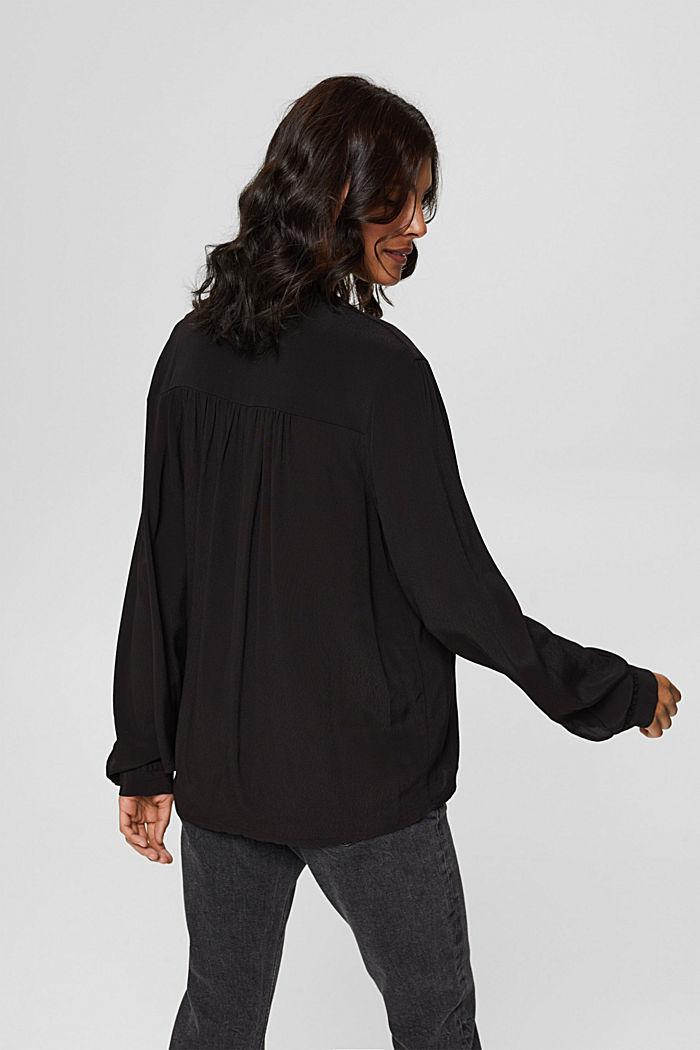 Henley-Bluse mit Rüschen, LENZING™ ECOVERO™, BLACK, detail image number 3