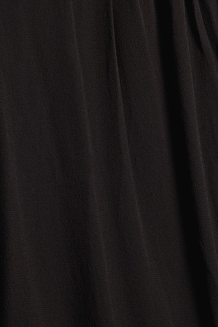 Henley-Bluse mit Rüschen, LENZING™ ECOVERO™, BLACK, detail image number 4