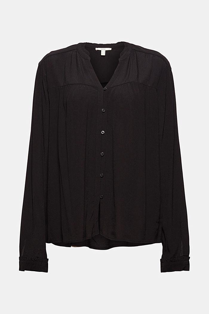 Henley-Bluse mit Rüschen, LENZING™ ECOVERO™, BLACK, detail image number 5