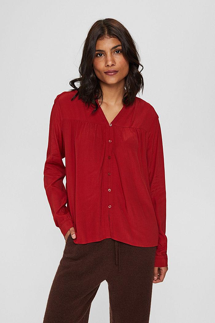 Henley-Bluse mit Rüschen, LENZING™ ECOVERO™, DARK RED, detail image number 0