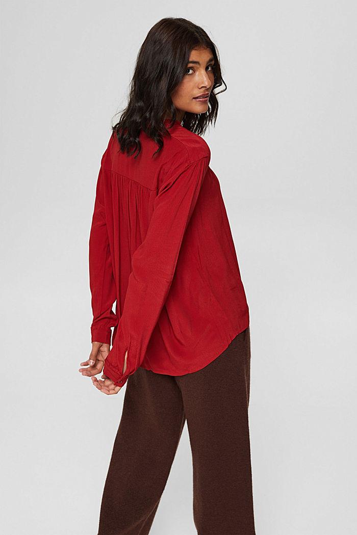 Henley-Bluse mit Rüschen, LENZING™ ECOVERO™, DARK RED, detail image number 3