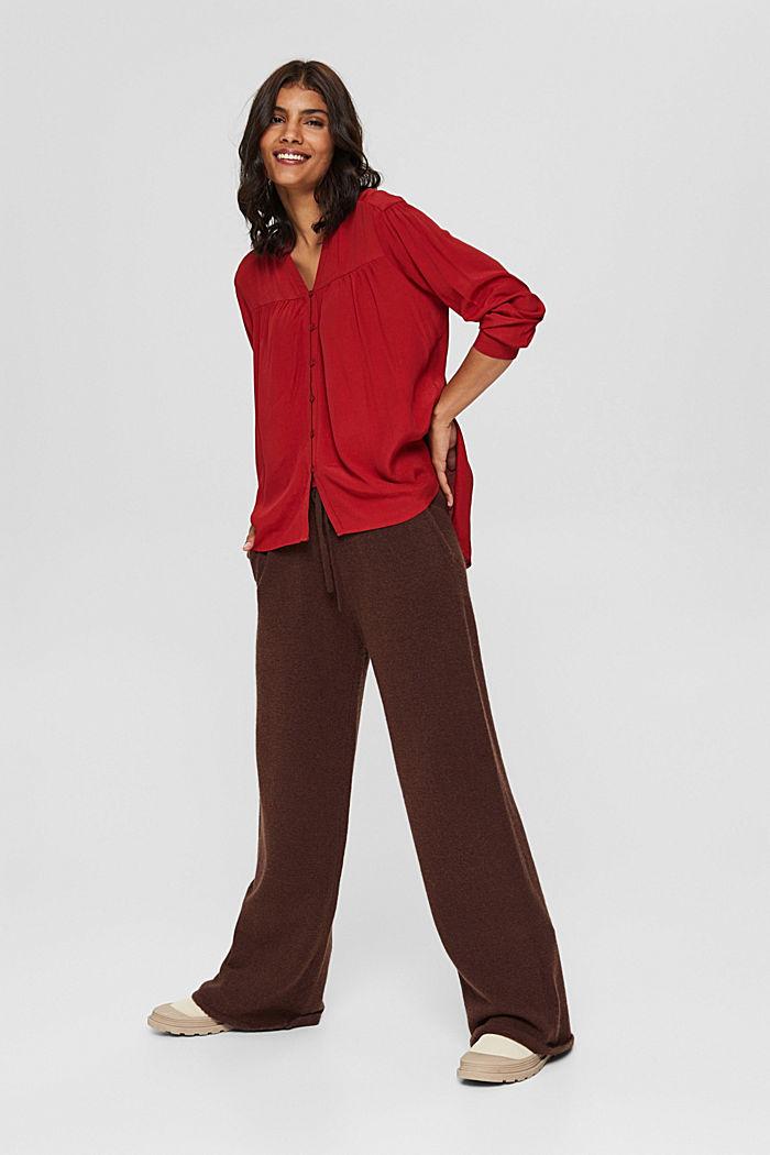 Henley-Bluse mit Rüschen, LENZING™ ECOVERO™, DARK RED, detail image number 5