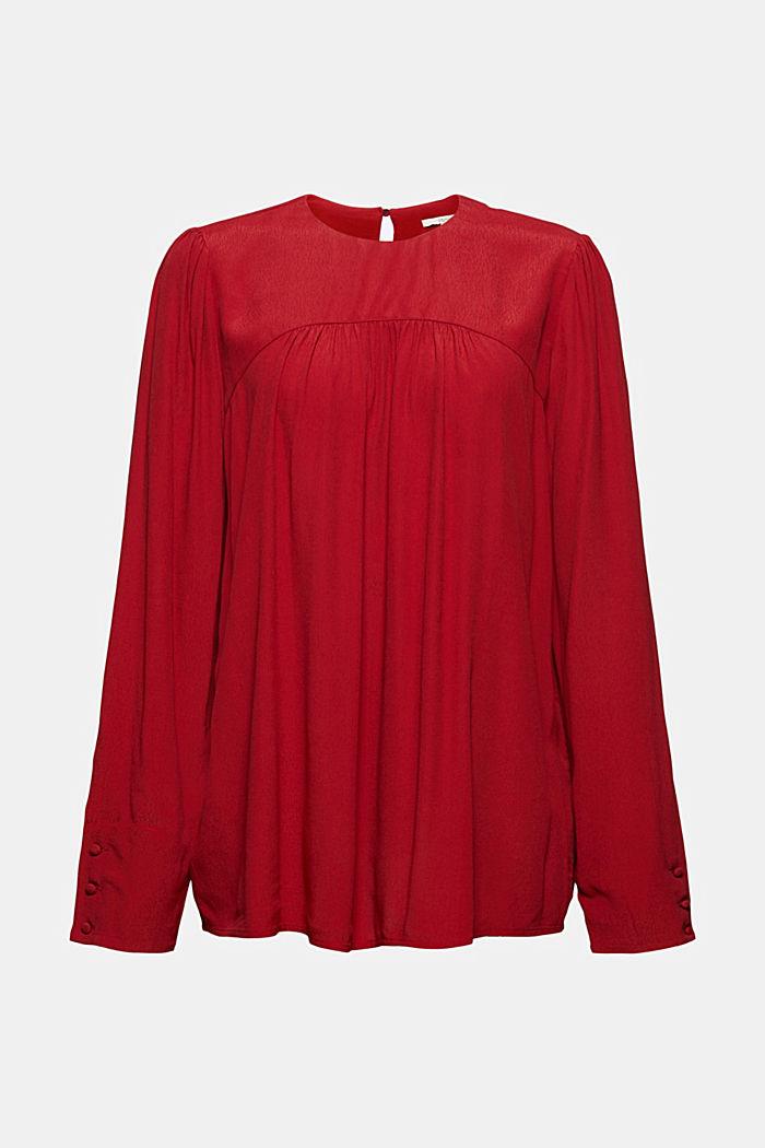 Henley-Bluse mit Rüschen, LENZING™ ECOVERO™, DARK RED, detail image number 6
