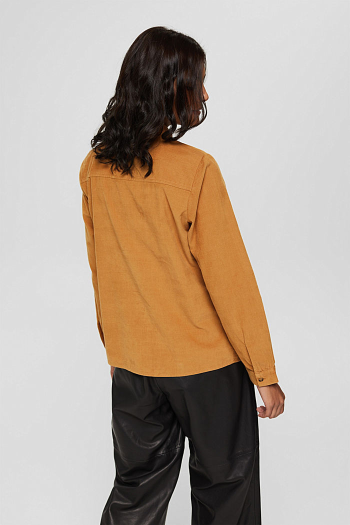 Feincord-Hemdbluse aus 100% Baumwolle, CAMEL, detail image number 3