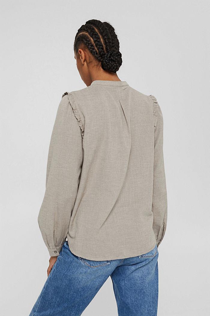 Hemdbluse mit Rüschen, 100% Baumwolle, GUNMETAL, detail image number 3