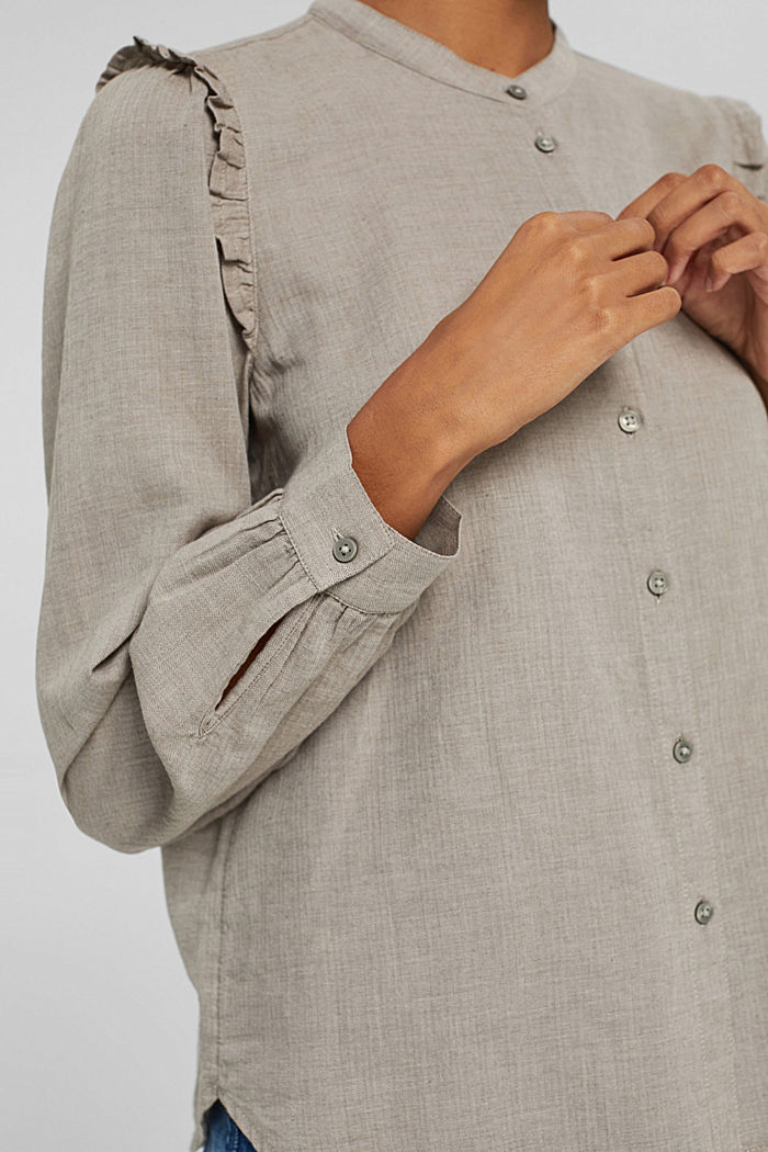 Hemdbluse mit Rüschen, 100% Baumwolle, GUNMETAL, detail image number 2