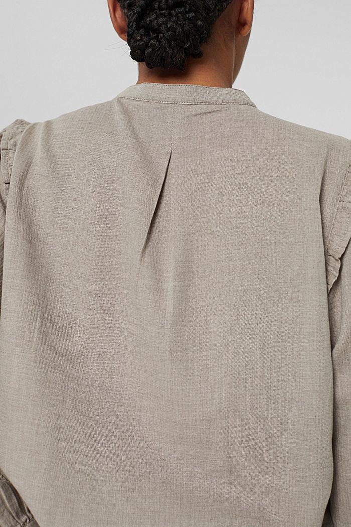 Hemdbluse mit Rüschen, 100% Baumwolle, GUNMETAL, detail image number 5
