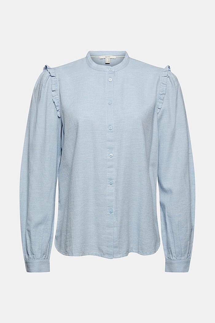 Skjortebluse med flæser, 100% bomuld