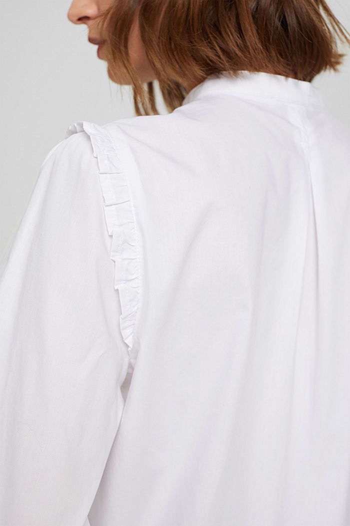 Chemisier à ruches, 100% coton, WHITE, detail image number 2
