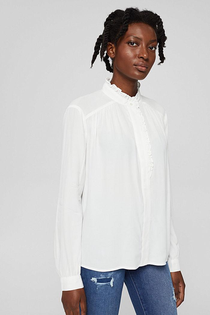 Soepele crêpe blouse met ruches, OFF WHITE, detail image number 0