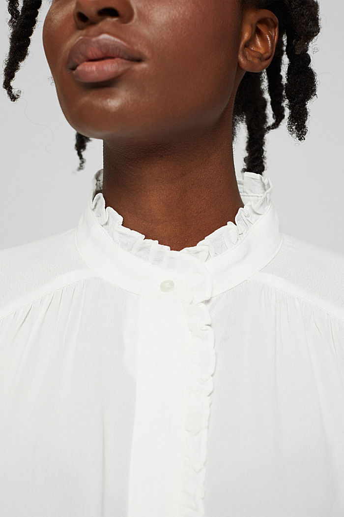 Soepele crêpe blouse met ruches, OFF WHITE, detail image number 2