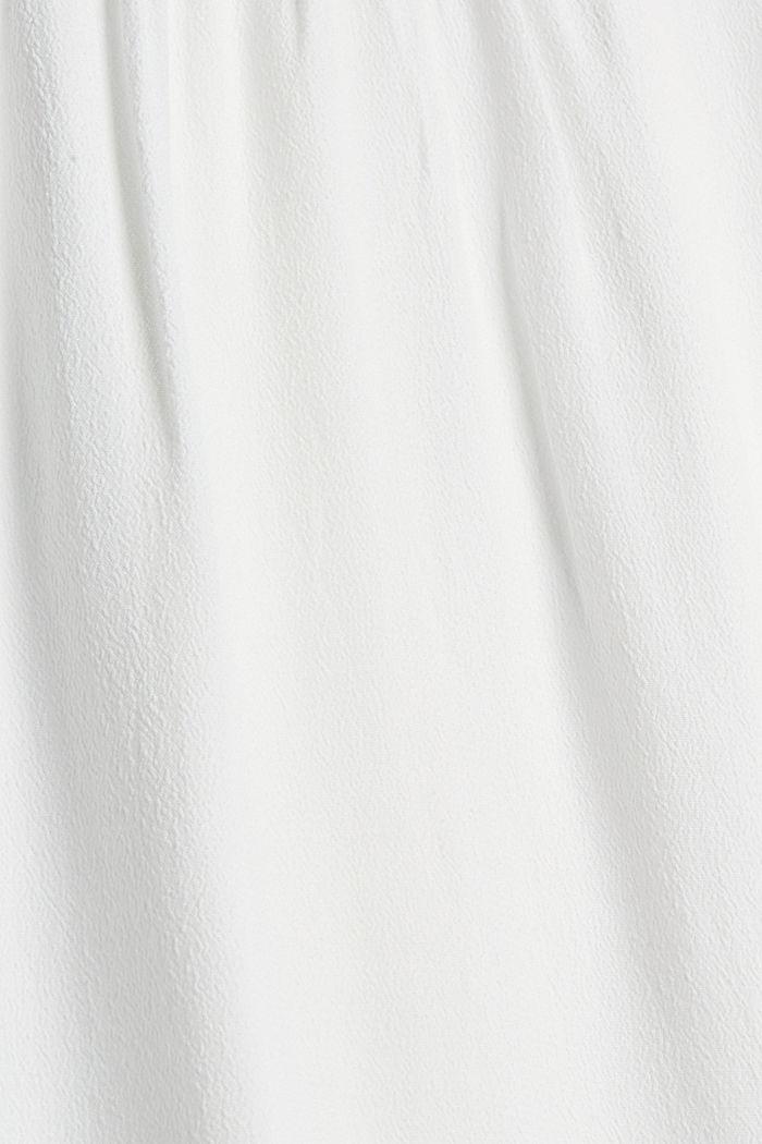 Soepele crêpe blouse met ruches, OFF WHITE, detail image number 4