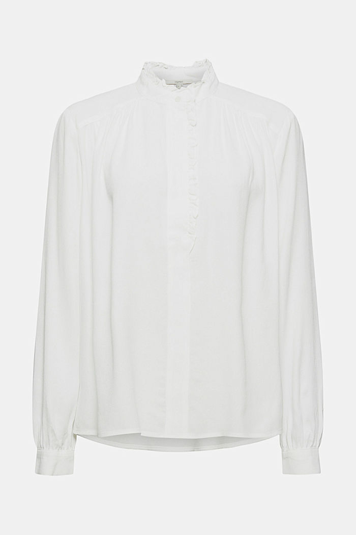 Soepele crêpe blouse met ruches, OFF WHITE, detail image number 6