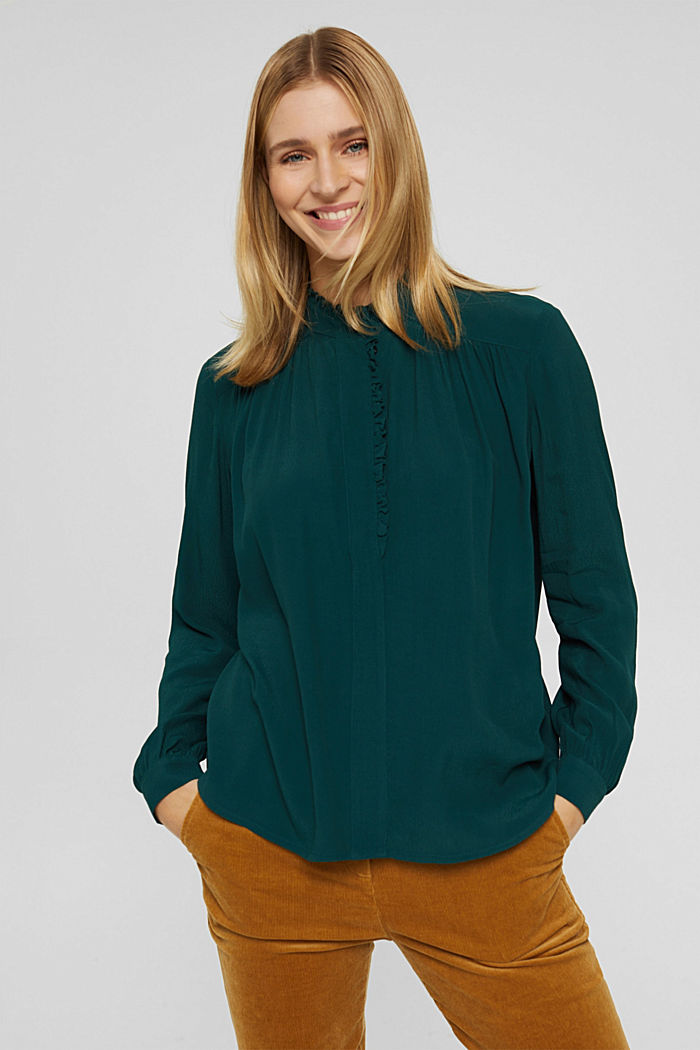 Soepele crêpe blouse met ruches