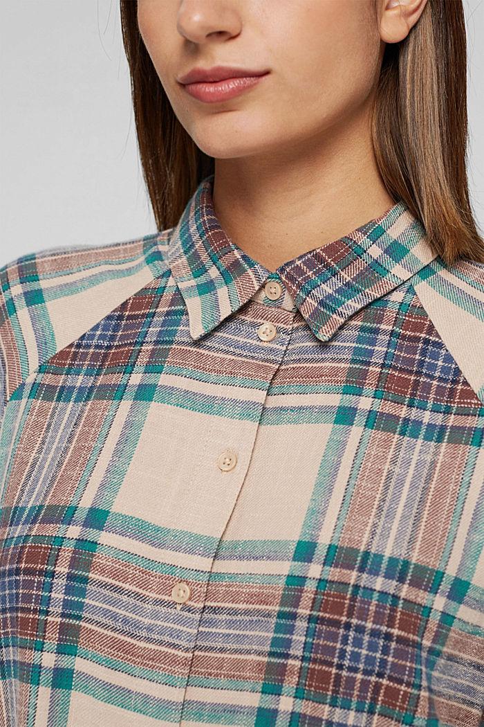 Geruite overhemdblouse van 100% katoen, OFF WHITE, detail image number 2
