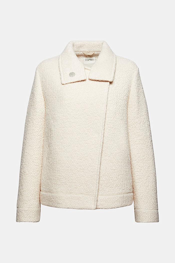 Mit Wolle: Bouclé-Jacke mit Stehkragen
