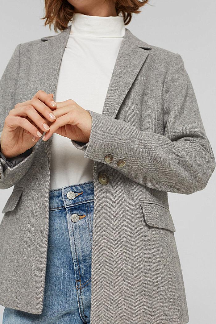 Mit Wolle: Blazer mit Fischgrätmuster, ANTHRACITE, detail image number 2