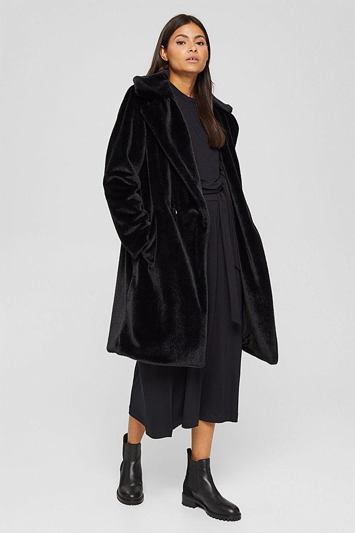 Mantel mit breitem Reverskragen aus Webfell, BLACK, detail image number 0