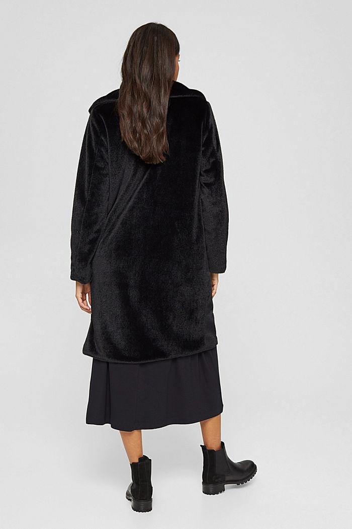 Mantel mit breitem Reverskragen aus Webfell, BLACK, detail image number 3