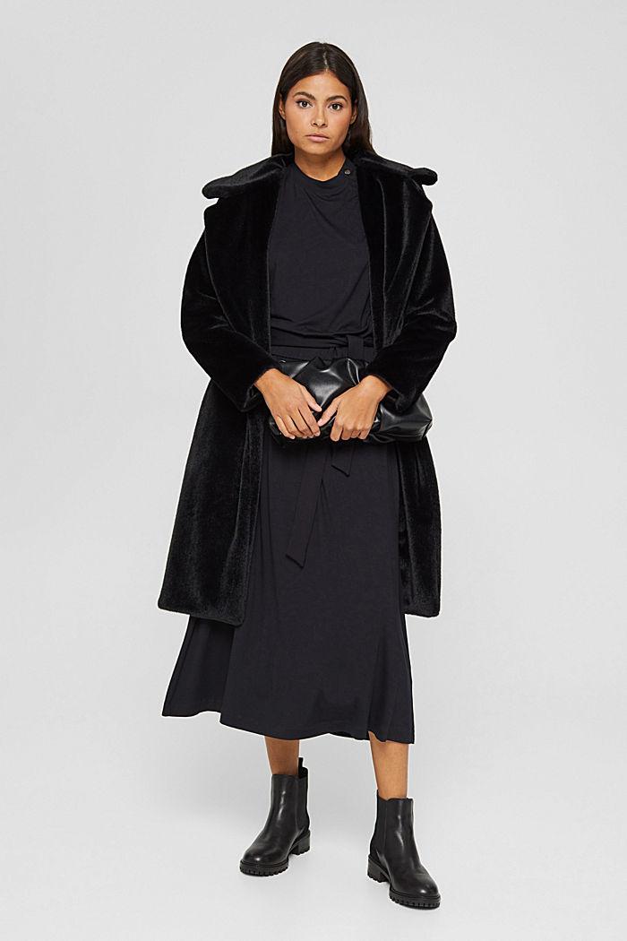 Mantel mit breitem Reverskragen aus Webfell, BLACK, detail image number 1