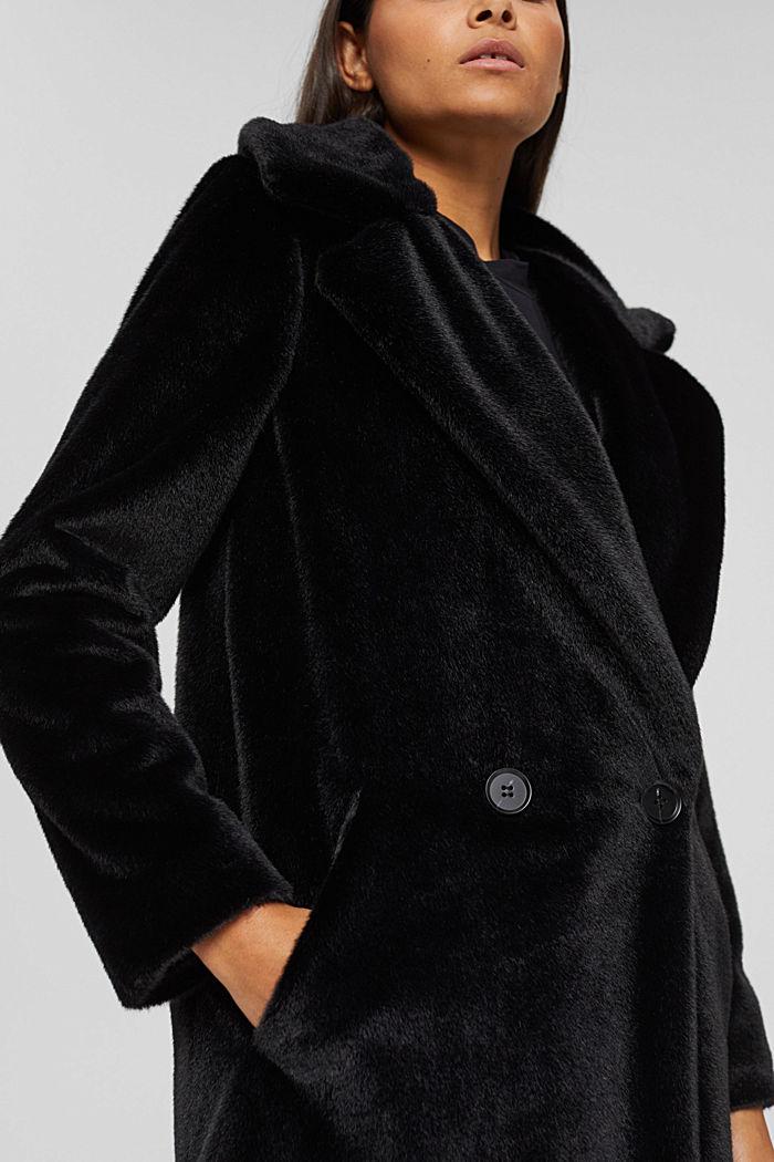 Mantel mit breitem Reverskragen aus Webfell, BLACK, detail image number 2