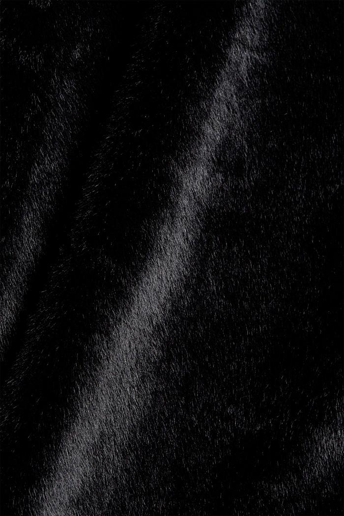 Mantel mit breitem Reverskragen aus Webfell, BLACK, detail image number 4