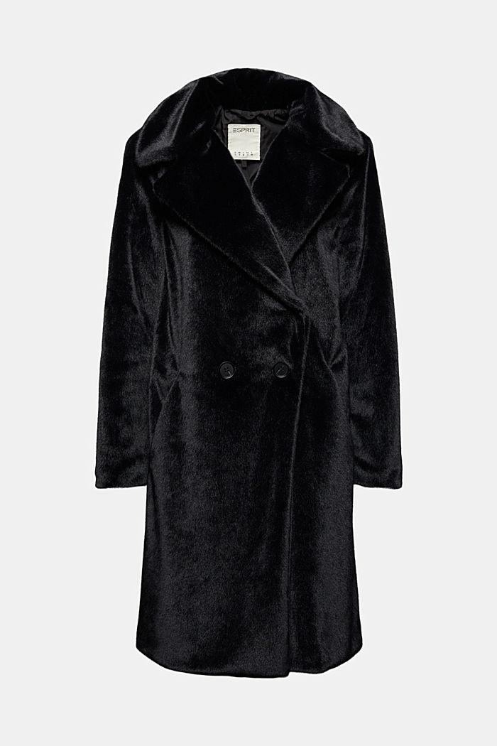 Mantel mit breitem Reverskragen aus Webfell, BLACK, detail image number 6