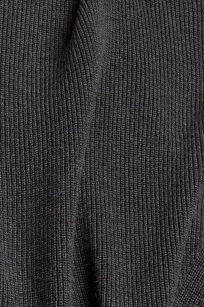 Oversized Rollkragen-Pullover, Bio-Baumwoll-Mix, ANTHRACITE, detail image number 4