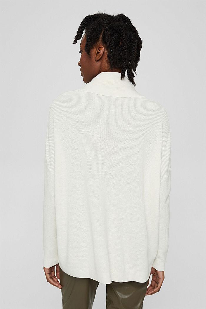 Oversized Rollkragen-Pullover, Bio-Baumwoll-Mix, OFF WHITE, detail image number 3