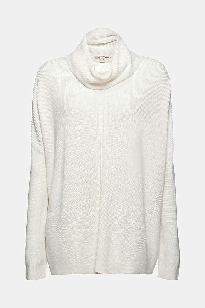 Oversized Rollkragen-Pullover, Bio-Baumwoll-Mix, OFF WHITE, detail image number 6