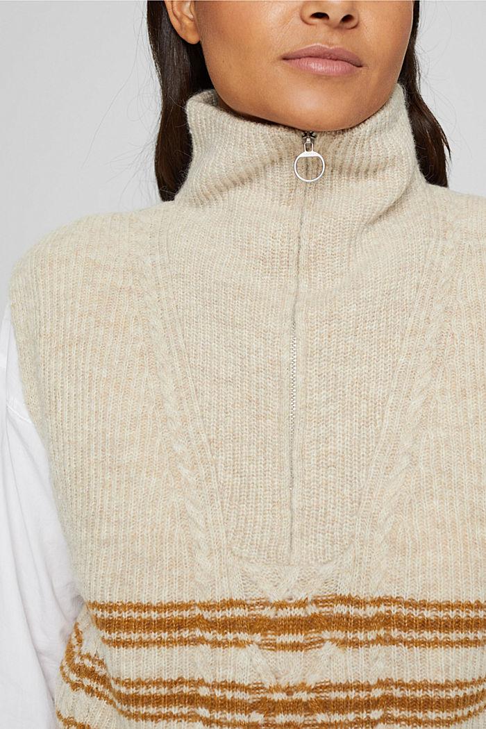 Mit Wolle/Alpaka: ärmelloser Troyer, SAND, detail image number 2